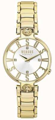 Versus Versace Womens kristenhof | mostrador prateado | aço inoxidável ouro VSP490618