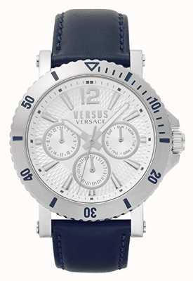 Versus Versace Mens steenberg | mostrador prateado | pulseira de couro azul VSP520118