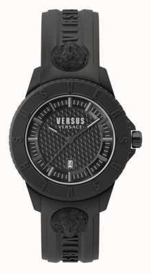 Versus Versace Tóquio r | mostrador preto | pulseira de silicone preta VSP0Y2318