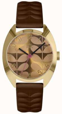 Orla Kiely | senhoras relógio beatrice | mostrador de mostarda | pulseira marrom OK2294