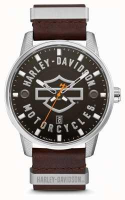 Harley Davidson Pulseira de couro marrom dos homens hd discagem de marca 76B178