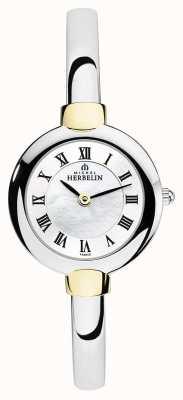 Michel Herbelin Senhoras pulseira prata relógio | ouro | mãe de discagem pérola 17413/BT29