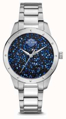 Harley Davidson Cristal feminino conjunto de discagem azul | pulseira de aço inoxidável 76L188