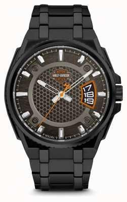 Harley Davidson Mens para ele | mostrador preto | pulseira de aço inoxidável preto 78B151