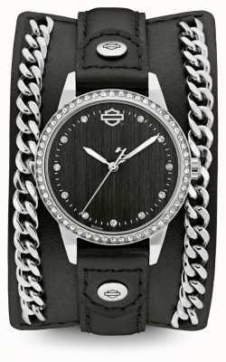 Harley Davidson Mulheres da coleção manguito de corrente | pulseira de couro preto 76L184