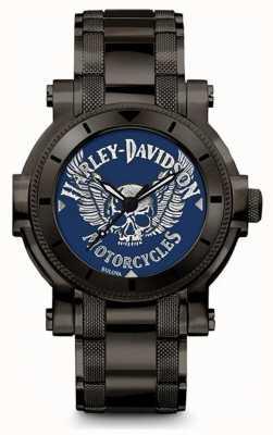 Harley Davidson Mens para ele | pulseira de aço inoxidável preto | mostrador azul 78A117