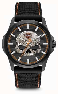 Harley Davidson Mens willie g skull | mostrador preto | pulseira de silicone preta 78A118