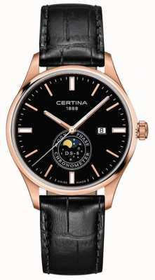 Certina Ds-8 masculino | preto | ouro rosa | relógio moonphase C0334573605100