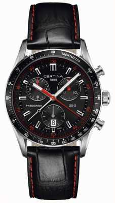 Certina Mens ds-2 | cronógrafo | mostrador preto | pulseira de couro preto C0244471605103