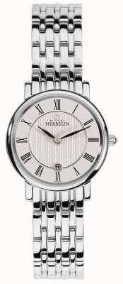 Michel Herbelin Classique das mulheres | mostrador branco | pulseira de aço inoxidável 16945/B01