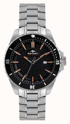 Rotary Mens analógico   pulseira de aço inoxidável   mostrador preto AGB00293/04