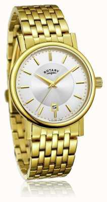 Rotary Mens slim banhado a ouro pulseira de aço inoxidável   mostrador prateado GB03635/03