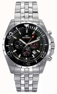 Rotary Mens aquaspeed   pulseira de aço inoxidável   mostrador preto AGB00013/C/04S
