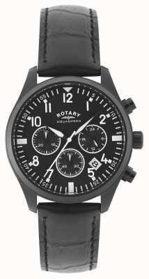 Rotary Cronógrafo Mens | pulseira de couro preto | mostrador preto GS00110/04