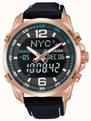 Pulsar Mens alarme dual time pulseira de couro preto banhado a ouro PZ4006X1