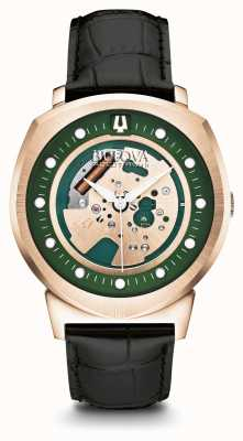 Bulova Mens accutron ii rosa banhado a ouro pulseira de couro de discagem verde 97A122