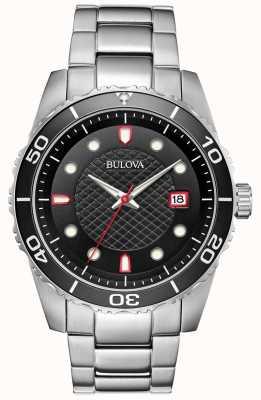 Bulova Esportes dos homens preto / red dial pulseira de aço inoxidável 98A195