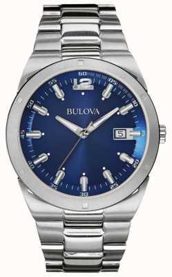 Bulova Mens clássico azul dial pulseira de aço inoxidável data 96B220
