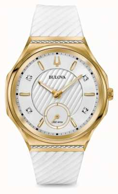 Bulova Conjunto de diamantes curvados femininos cinta branca banhada a ouro 98R237