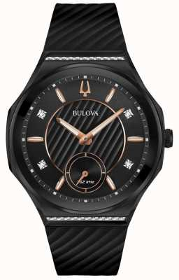 Bulova Conjunto de diamantes curvados femininos, pulseira de borracha preta 98R240