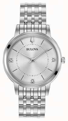 Bulova Bracelete de aço inoxidável de discagem de diamante para mulher 96P183