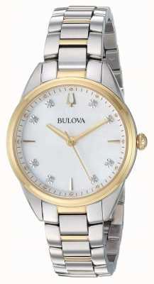 Bulova Caso de dois tons em madrepérola de diamante para mulher 98P184