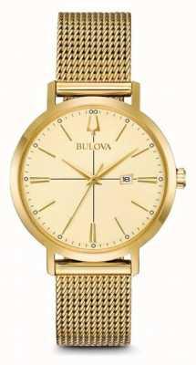Bulova Aerojet feminino banhado a ouro clássico pulseira de malha 97M115