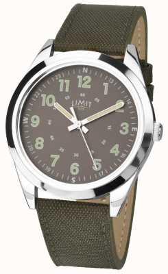Limit Gents | relógio estilo militar | bracelete khaki verde e mostrador verde 5951