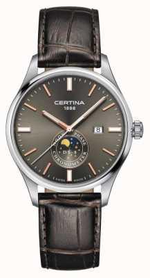 Certina Homens | pulseira de couro marrom ds 8 crono fase da lua mostrador cinza C0334571608100