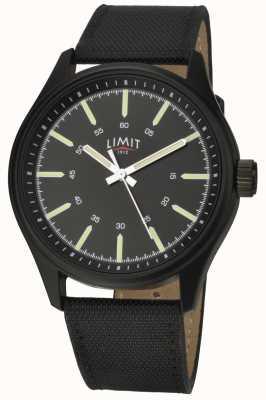 Limit | mens | pulseira de couro preto | mostrador preto | 5948.01