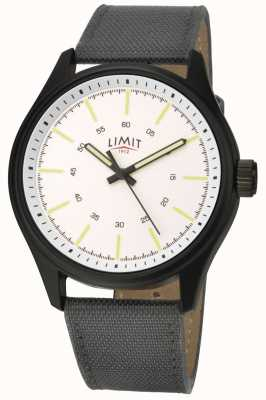 Limit | mens pulseira de nylon preta | mostrador branco | 5949.01
