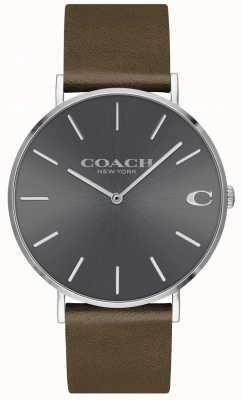 Coach Mens charles | pulseira de couro marrom | mostrador cinza 14602153