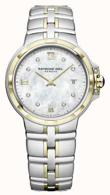 Raymond Weil Parsifal para mulher | mostrador de diamante | dois tons 5180-STP-00995