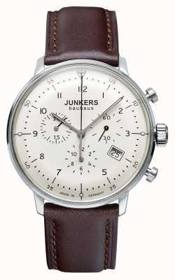 Junkers Mens bauhaus cronógrafo pulseira de couro marrom 6086-5
