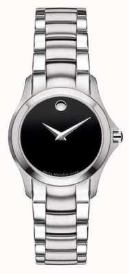 Movado | relógio de aço militar das mulheres | mostrador preto | 0605870