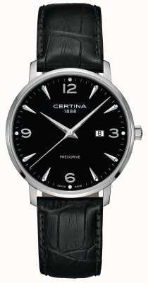 Certina Mens ds caimano pulseira de couro preto mostrador preto C0354101605700