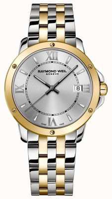 Raymond Weil Tango para homem | pulseira de aço inoxidável de dois tons | mostrador prateado 5591-STP-00308