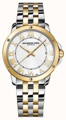 Raymond Weil Tango para homem | pulseira de aço inoxidável de dois tons | mostrador branco 5591-STP-00308