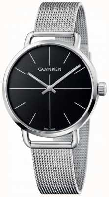 Calvin Klein | malha de aço inoxidável até mesmo média para mulher | mostrador preto | K7B21121