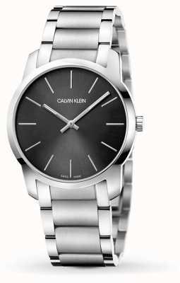 Calvin Klein | cidade dos mens | pulseira de aço inoxidável | mostrador preto / cinza | K2G22143