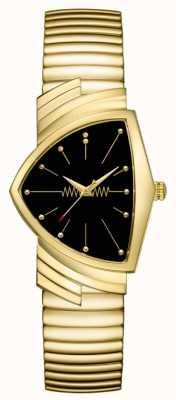 Hamilton | relógio de quartzo ventura | mostrador preto | pulseira flexível | H24301131