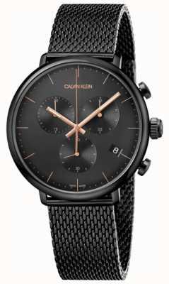 Calvin Klein | aço inoxidável preto dos homens meio-dia | cronógrafo | K8M27421