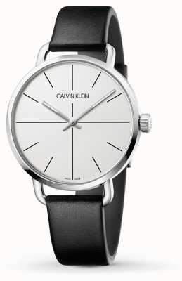 Calvin Klein   mesmo relógio de extensão   pulseira de couro preto   mostrador branco   K7B211CY