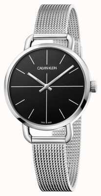 Calvin Klein | até assistir | correia de malha de aço inoxidável | mostrador preto | K7B23121