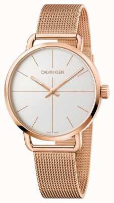 Calvin Klein | até assistir | cinta de malha de ouro rosa | mostrador prateado | K7B21626