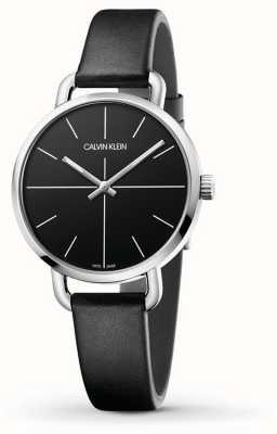 Calvin Klein   mesmo relógio de extensão   pulseira de couro preto   mostrador preto   K7B231CZ