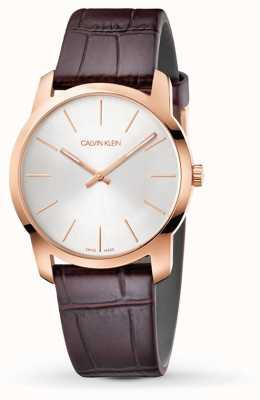Calvin Klein   relógio de extensão de cidade   pulseira de couro marrom   mostrador prateado   K2G226G6