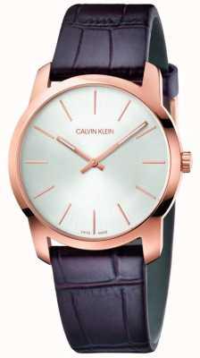 Calvin Klein | relógio de extensão de cidade | pulseira de couro marrom | mostrador prateado | K2G226G6