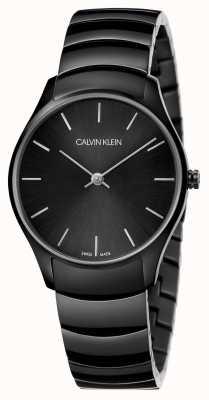 Calvin Klein | clássico também assistir | pulseira de aço inoxidável preto | K4D22441