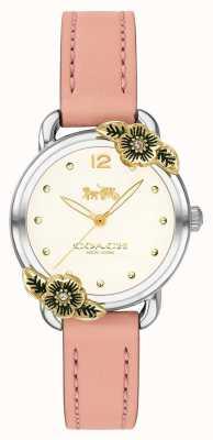 Coach | relógio delancey para mulher | couro rosa e aço inoxidável | 14503239